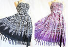 Handpainted batik animal print fringed strappy adjustable dress UK size 10 to 16