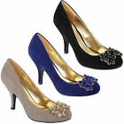 L2235 Anne Michelle Court Shoe With Jewel Bow Detail Black,Navy & Nude sizes 3-8