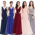 New Sexy Chiffon Double V-neck Long Formal Bridesmaid Evening Dress 09016