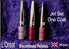 L'OREAL Colour Jet Set ONE COAT nail polish varnish RARE 150 153 156  pink red