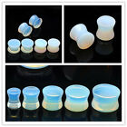 Pair Elegant Solid Opal Oplaite Stone Double Flare Ear Plug Saddle Flesh Tunnels