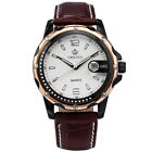 ORKINA Fashion Mens Date Display Leather Quartz Sport Wrist Mens Watch