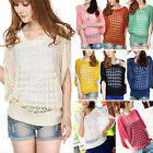 Fashion Womens Batwing Sleeve Loose Hollow Pullover Knit Tops Jumper Sweater