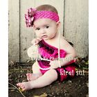 Baby Girls Hot Pink Black Lace Petti Rompers Romper Straps Bow NB-3T RS35