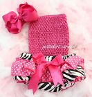 Baby Zebra Polka Dots Ruffles Bloomers Hot Pink Tube Top Bow Headband 3pc NB-24M