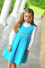 New Beautiful Girls Blue Corduroy Jumper Dress and Blouse with Smocking 17516