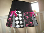 NEW Goth Pink black white Harlequin check Funky Skulls pleated Skirt Party Gift