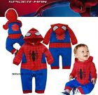 BABY BOY 100% COTTON SPIDERMAN LONG SLEEVE CASUAL JUMPSUIT ROMPER MANY SIZES