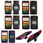 For HTC Evo 4G LTE Hybrid Case Silicone Corner with Hard Cover H-Stand