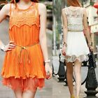 Lovely Womens Pleated Mini Dress Lace Splicing Sleeveless Casual Sundress 6627