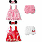 Girls Baby Toddler Polka Dots Top+Pants+Headband 3Pcs Clothes Outfit 6-24 Months