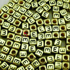 """""""E"""" Gold Cube Alphabet Letter Acrylic Plastic 6x6mm (1/4"""") Spacer Beads"""