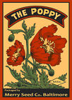 The Poppy Flowers Merry Seed Baltimore Maryland Vintage Poster Repro FREE S/H