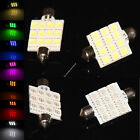 10X Festoon 41mm Dome 12 5050 LED SMD Car Panel Light Lamp Bulb WHITE BLUE 12V