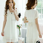 Ladies Womens Buttons Short Sleeve Chiffon Tie Back White Dress