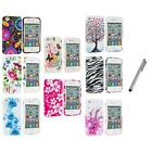 For iPhone 4 4S 4G Accessory TPU Design Flower Rubberized Case Cover+Metal Pen