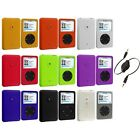 For iPod Classic 80 120 160 GB Color Hard Rubberized Case Cover+Aux Cable