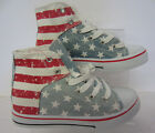 TH00-Ladies 'JennyFer' Hi-Top Canvas Pumps, Stars And Strips. ONLY £9.99!
