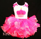Hot Pink FULL Tutu Rosettes Cupcake Birthday Outfit 1-7Y