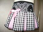 New Baby Girls Black White Pink Floral Check Paisley pleated Skirt Goth Gift