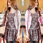 2 in 1 Womens Tunic Boho Flower Printed Floral Strap Tops Mini Dress Cardigan