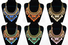 6 Colors Fashion Gold Chain Water Drop Resin Beads Crystal Pendant Bib Necklace