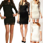 Black White Women Lace Dress Sexy Slim 3/4 Sleeve Cocktail Party Club Dresses