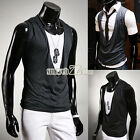 Men Casual Slim-Fit Gray Sleeveless V-Neck Cotton Basic T-Shirts Tank Tops S0BZ