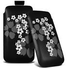 BLACK FLORAL PULL TAB LEATHER CASE POUCH COVER FITS MOST MOBILE PHONES