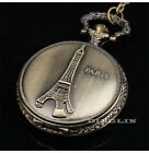 Gothic Retro Paris Eiffel Tower Fob Carve Pocket Watch Charm Necklace With Chain