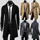 Turndown Men's Gentleman Double-breasted Jackets Slim OutCoat Trench Tweed Coat