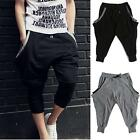 Cropped Harem Stretch New Vogue Korean Style Black Pocket Men's Pants Trousers