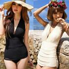 Sexy Tight Slim One Piece Swimsuit Deep V Swimwear Halter Bikini Swimsuit Dress
