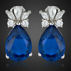 Fashion Lady Jewelry Pear Cut 18K White Gold Plated Stud Earrings