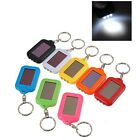 Mini LED Solar Power Rechargeable Flashlight Keychain Torch Light Ring Holder