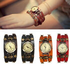 Retro Skeleton Rivet Leather Alloy Quartz Wrap Skull Stars Bracelet Wrist Watch