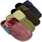 Womens Faux Suede Furry Comfort Slipper Ladies Mule Slippers UK Size 3 4 5 6 7 8