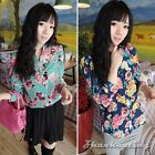 Fashion Womens Laides Long Sleeve Vintage Flowers Print Casual Tops Shirt Blouse