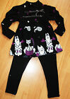 GIRLS KITTY CAT PRINT WINTER PARTY KNIT TOP & LEGGING age 4-14 BLACK