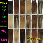 "15""18""20""22""24""26""30"" 100% Remy Real Clip In Human Hair Extentions 70g-120g LOT"
