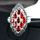 Pretty 12X24mm 925 Sterling Silver Red Faceted Ruby Marcasite Ring Size 7/8/9/10