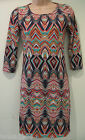 Multi coloured three quarter sleeve Tight Dress (NEW)-UK Size 8