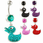 dangle belly bars navel piercing duck crystal button ring jewellery barbell 9HJN