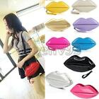 NEW Women Lady Patent Leather Lips Evening Party Clutch Shouder Hand Bag Purse