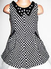 GIRLS BLACK & WHITE CHECK BEAD DIAMONTE TRIM WINTER WOOLLY PARTY DRESS