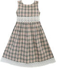 Girls Dress Beige Tartan Check Lace School Uniform Children Clothes SZ 2-10 New