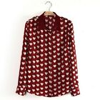 NEW Fashion Women's Red Sweet Heart Print Long Sleeve Blouse Shirt Tops 3 Sizes
