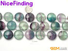 """Coin Smooth Fluorite Natural Stone Jewelry Making Beads Strand 15""""/10pcs"""