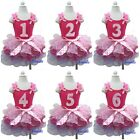 Hot Light Pink Lavender Pettiskirt Tutu Number Birthday Tank Top Party Dress 1-6