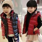 Girls Kids Winter Cotton Hooded Vest Jacket Zipper Coat Outwear Hoodie 2-6 Years
